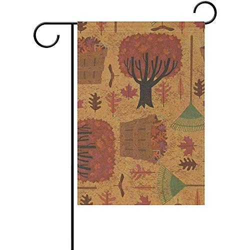 (THDo Autumn Halloween Wallpaper Polyester Valentine's Day Garden Flag 12 x 18 Inch Banner Double Sided Printing for Yard)