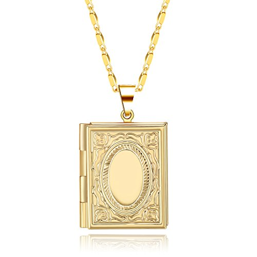 Book Locket (JuJubak Sterling Gold Small Rectangle Book Hand-Engraved Photo Picture Locket Pendant Necklace Platinum/18K Gold Plated Vintage Personalized)