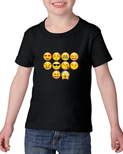 Xekia Emoji Entourage Heavy Cotton Toddler Kids T-Shirt Tee Clothing 3T Black ()