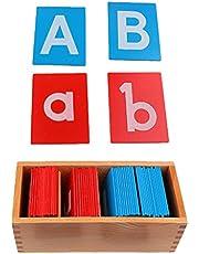 Tableta de Madera Montessori para Aprendizaje Letras Minúsculas Mayúsculas Alfabeto Juguetes Educativo Preescolar para Niños