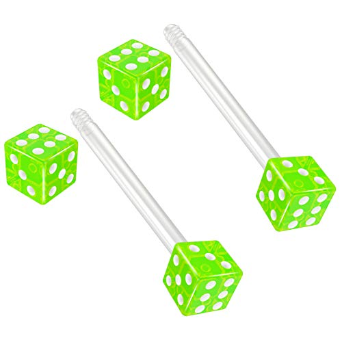 Bling Piercing 2pc 14g 1.6mm Flexible Tongue Rings Bioflex 14mm 9/16 Bioplast Barbell Ring Green Acrylic Dice