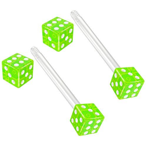 (Bling Piercing 2pc 14g 1.6mm Flexible Tongue Rings Bioflex 14mm 9/16 Bioplast Barbell Ring Green Acrylic Dice )