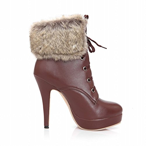 Snow high Lace heel High Latasa Sorrel Stiletto Faux up Women's Decoration Fashion Boots Ankle fur qtAzw