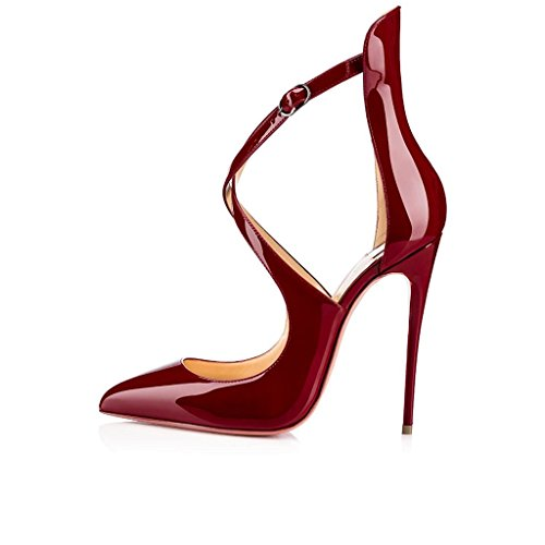 Eldof High Strap Women's Pumps Buckle Height Sandals 10cm Wine Sexy Heels Cross Pumps Heel Pointed Toe 4r541wqgxX