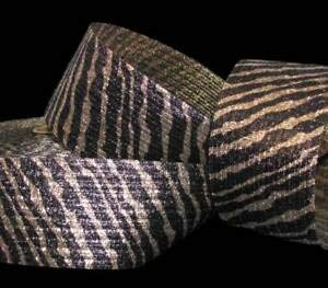 5 Yards Animal Print Tiger Stripe Gold Brown Metallic Safari Wired Ribbon 3