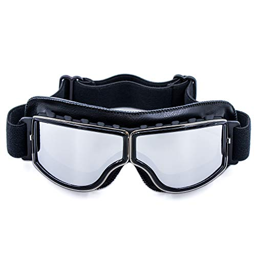 Cynemo Motorcycle Goggles Vintage Scooter ATV Anti-Scratch Leather Dust Glasses