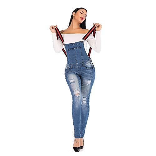 POPTIME Women's Denim Stretch Ribbon Belt Overall Ankle Full Length Destroyed Jean (Large, - Full Overcoat Length Womens