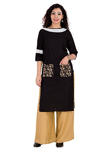 BrightJet Designer Black Cotton Lacework Women Fashion Kurti A-line Kurta Top Tunic with Rayon Solid Beige Plazzo Set Party Dress Casual (XXL) by BrightJet (Image #4)