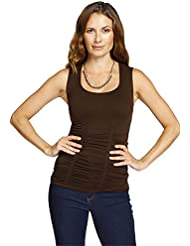 Last Tango Womens All Occasion Flattering Design Sleeveless Scoop Neck Ruched Tank