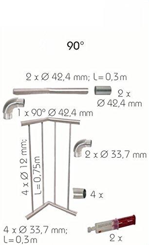 Eck-Set 31//675 in Edelstahl zur seitl VORTEC Montage m G/ünstige Restposten Stangen senkr