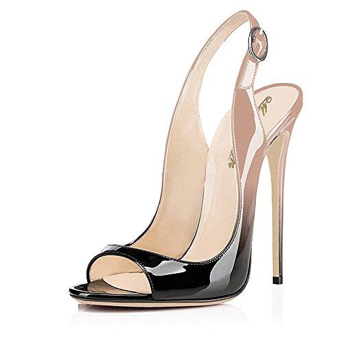 Patent Sling Strap Peep Toe (Modemoven Women's Beige Black Patent Leather Pumps,Peep Toe Heels,Slingback Sandals,Evening Shoes,Cute Stilettos - 9 M US)