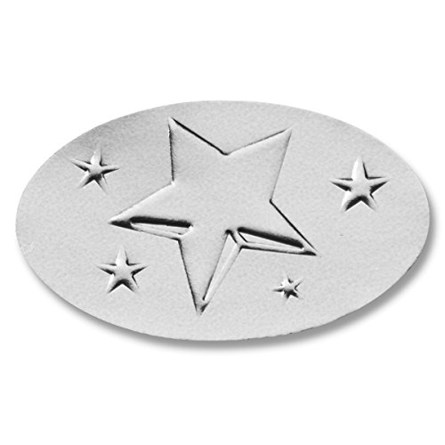 (5-Point Star Embossed Silver Foil Smooth Edge Certificate Seals, 2 Inch, Self Adhesive, 30 Count )