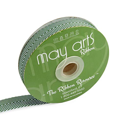 - May Arts 3/4'' Twill Chevron Stripes Ribbon Green/Ivory (30 yard Spool) GREEN/IVORY