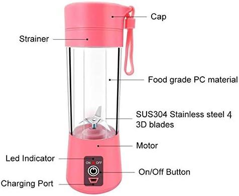 Batidora exprimidor portátil multifuncional USB cargador doméstico 380 ml pequeña licuadora de corte de alimentos taza exprimidor