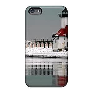 AlissaDubois Apple Iphone 6 High Quality Hard Phone Cases Customized High-definition Dual Lighthouses On An Icy Pier Pattern [JQL22126JLog]
