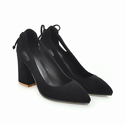 Mee Shoes Damen high heels Nubukleder mit Schleifen Pumps Schwarz