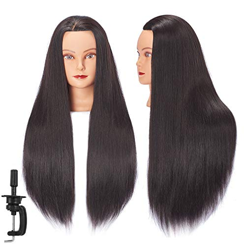 Hairginkgo Mannequin Head 26-28 Super Long Synthetic Fiber Hair Manikin Head Styling Hairdresser Training Head Cosmetology Doll Head for Cutting Braiding Practice with Clamp Black (92018LB0220)