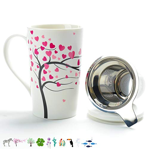 TEA SONG Porcelain Tea-Cup(18 oz) with Strainer and Cover Mom Dad Women, Jupiter, Home Teapot Set with Steel Steeper - Love Tree, Tea-Mug Brewer Marker, Steeping Filter for Loose Leave Tea Gift