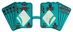 Skull Poker Playing Cards Costume Novelty Sunglasses, Teal Green, One-Size