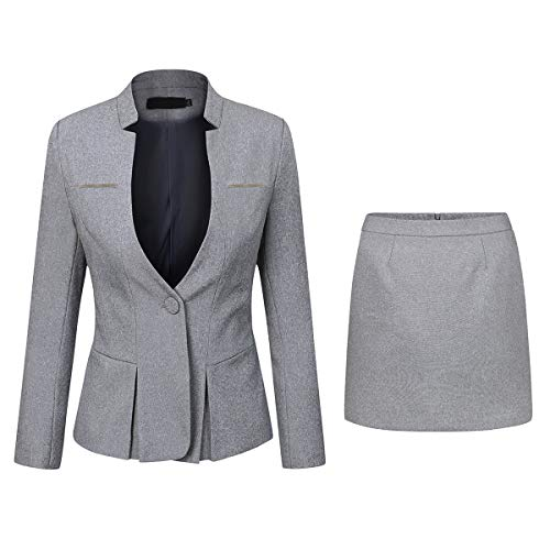 - Women's 2 Piece Business Skirt Suit Set Office Lady Slim Fit Blazer and Skirt