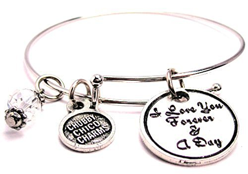 I Love You Forever and a Day Plus Size Bangle Bracelet, Fits 8.5 Inch Wrist