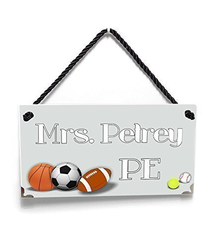 Personalized Male Coach Teacher Name Door Sign, Sports Theme Gym Grey Door Sign with Soccer, Football Basket, and Rugby Balls by kasefazem