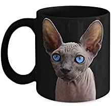 Hairless Cat Mug: Sphynx sphinx on black coffee cup gift items
