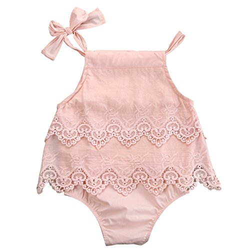 Newborn Baby Girl Infant Romper Jumpsuit Bodysuit Tutu Lace Dress Clothes Outfit (12-18 Months, Pink) ()