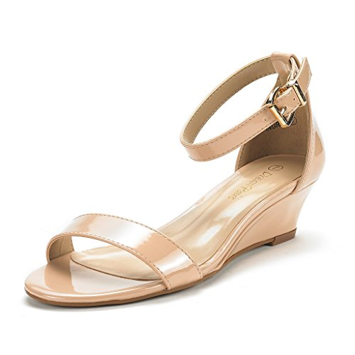 DREAM PAIRS Women's Ingrid Blush Pat Ankle Strap Low Wedge Sandals Size 7.5 M US