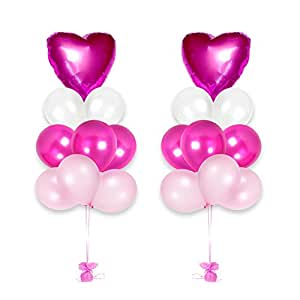 Happy Valentine's Day Heart Balloons Bouquet Party Decorations Kit (Pink)