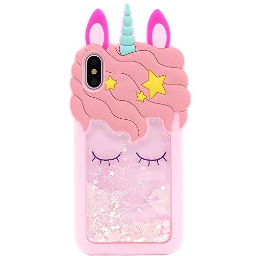 - iPhone Xs Max Case, MC Fashion Cute 3D Pink Unicorn [Quicksand Flowing Liquid Floating Glitter Stars], Shockproof and Protective Soft Silicone Case for Apple iPhone Xs Max (2018) 6.5-Inch