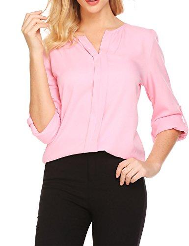 Unibelle Women Long Sleeve Solid V Neck Tops Shirts,Pink,Medium by unibelle