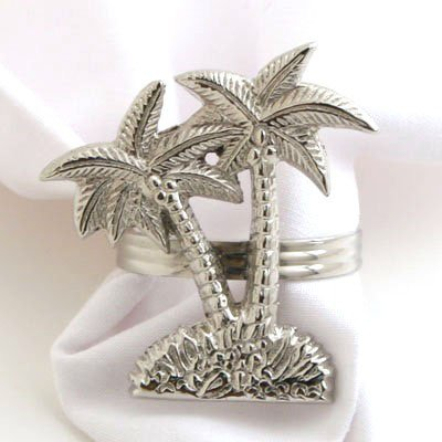 (Nickel Palm Tree Napkin Ring - Set of 4)