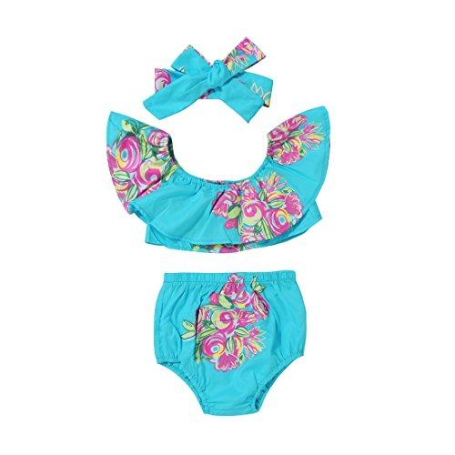 Scfcloth Newborn Baby Girl Floral Off Shoulder Lotus Leaf Top + Bloomers + Headband Outfits Set