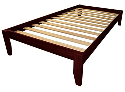 Bedroom Mahogany Bed (Epic Furnishings Stockholm Solid Wood Bamboo Platform Bed Frame, Twin-size, Mahogany Finish)