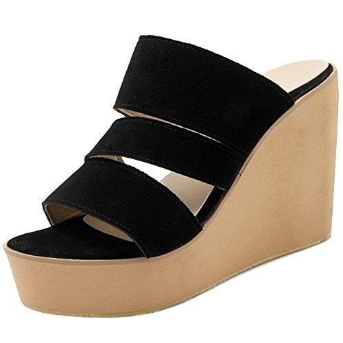TAOFFEN Mujer Moda Tacon De Cuna Sandalias Tacon Alto Plataforma Punta Abierta Slide Zapatos Negro