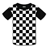 Youth Casual Black & White Racing Checkered Flag 3D Printed T-Shirts Short Sleeve Tops Tees for Boy's Girl's M