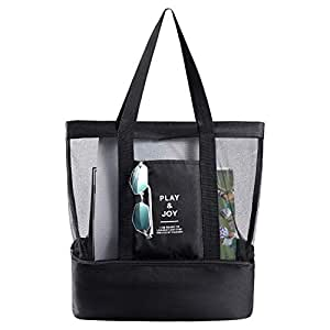 McoMco Beach Bag with Cooler Insulated Lightweight and Foldable with Durable Zipper Picnic Tote Bags for Beach Swimming Pool Camping (Black)
