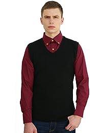 uxcell Men V Neck Sleeveless Ribbed Trim Slim Fit Knit Vest