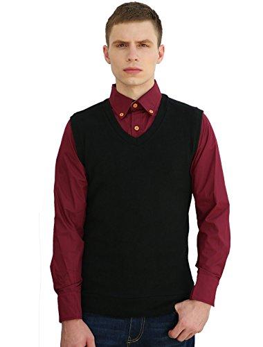 Allegra K Men V Neck Sleeveless Ribbed Trim Slim Fit Knit Vest