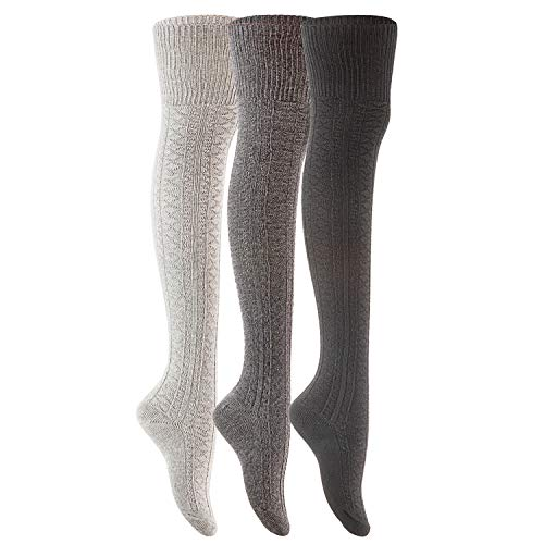 Lovely Annie Women's 3 Pairs Fashion Thigh High Cotton Socks J1025 Size 6-9(Black,Grey,Dark -