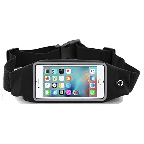 i2 Gear Running Belt with Touch Screen Access - Cell Phone Belt Holder with Adjustable Strap and Zipper Case for iPhone 6 6S (4.7), iPhone SE 5 5S 5C, Samsung Galaxy S7 S6 S5 S4 Moto, HTC One (Black)