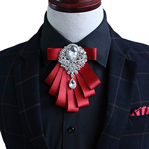 Top of the Rhinestone Women Crystal Bow Brooches Collar Pin Jewelry ribbon Fabric Bowknot (Red) ()