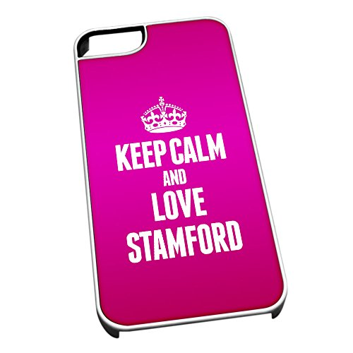 Bianco cover per iPhone 5/5S 0608 Pink Keep Calm and Love Stamford