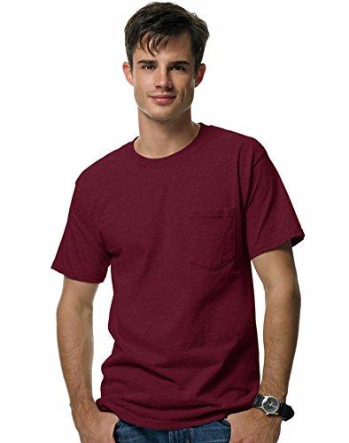 (Hanes Beefy-T Men`s Pocket T-Shirt Maroon)
