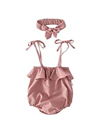 Kapmore Baby Romper Lovely Stripe Pattern Sling Baby Jumpsuit with Bow Headband for Baby Girls
