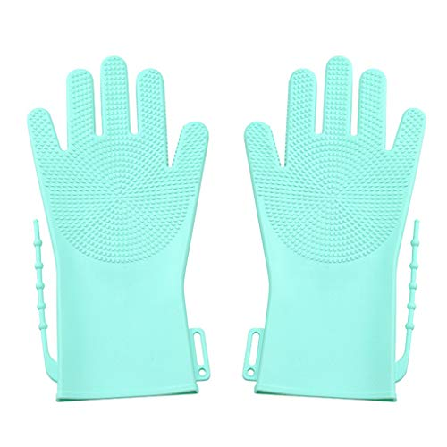 BeautyShe Magic Silicone Dishwashing Cleaning Sponge Gloves, Scrub Cleaning Gloves with Scrubber for Dishwashing and Pet Grooming, Latex Free (Green)