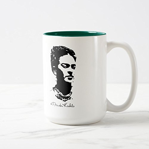 Zazzle Frida Shadow Portrait Two-tone Coffee Mug, Hunter Green Two-Tone Mug 15 oz