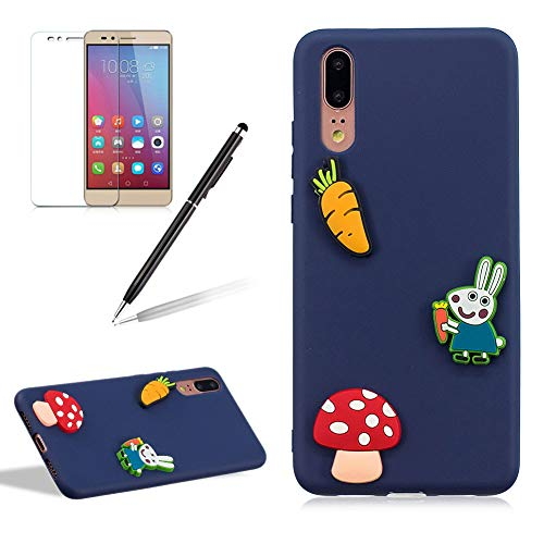 Phone Case Huawei P20,Cute Animal Rabbit Carrot Design Ultra Slim Soft Durable Shockproof Candy Colour Series Silicone Gel Protective Cover Huawei P20,Dark Blue ()