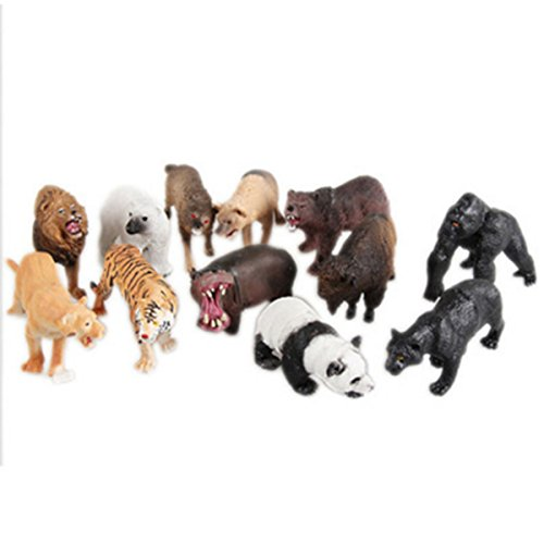 Animal Figure,Jumbo Jungle Animal Toy Set(12 Piece),CiCy Realistic Wild Vinyl Animal For Kids Toddler Child,Plastic Animal Party Favors Learning Forest Farm Animals Toys Playset